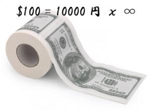 USドル 100ドル紙幣 トイレットペーパー